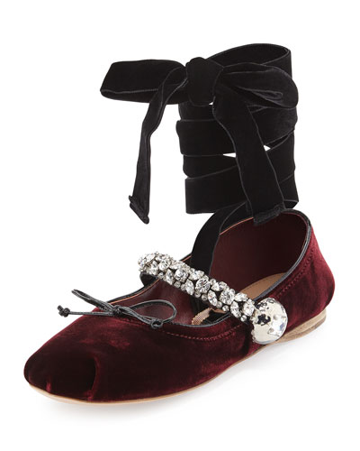 Embellished Ankle-Wrap Mary Jane Flat, Bordeaux