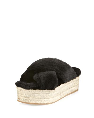 Shearling Crisscross Slide Sandal, Black (Nero)