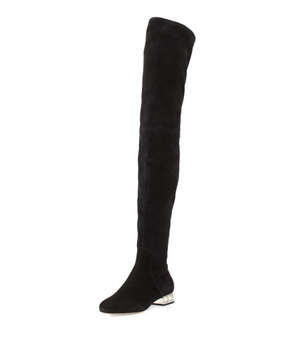 Crystal-Heel Suede Over-The-Knee Boot, Nero