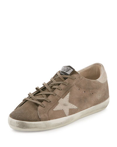 Distressed Leather Star Sneaker, Gray Mix