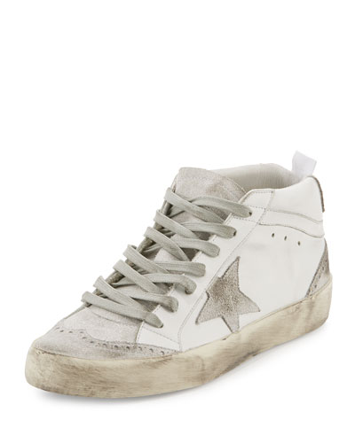 Distressed Leather Mid-Top Sneaker, White Mix