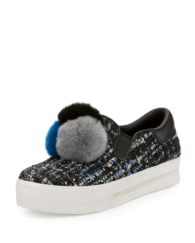 Joy Fur Pompom Slip-On Sneaker, Black/Blue