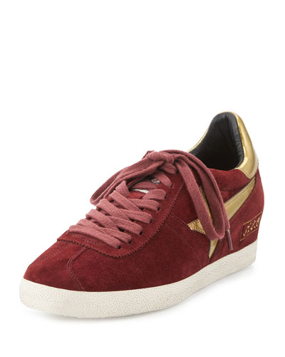 Guepard Suede Hidden-Wedge Sneaker, Barolo/Gold