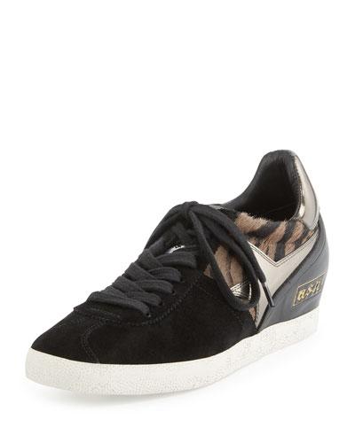Guepard Hidden-Wedge Sneaker, Clay/Black