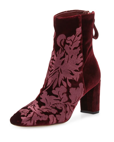 Regina Embroidered Velvet Boot