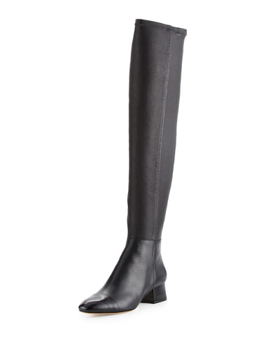 Helena Leather & Eel Skin Tall Boot, Black