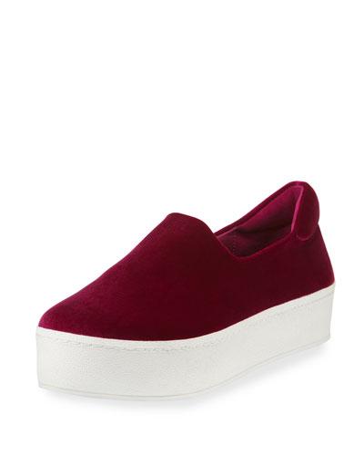 Cici Stretch-Velvet Platform Sneaker, Cosmic Pink