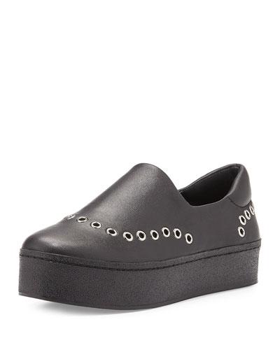 Cici Grommet-Studded Platform Sneaker, Black
