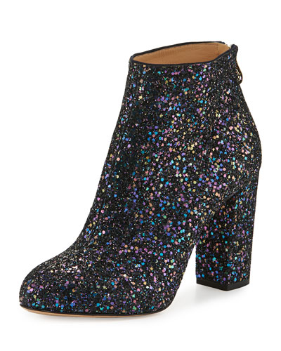 Alba Glitter Fabric Block-Heel Bootie, Night Sky Blue
