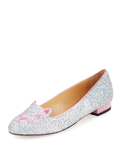 Kitty Glittered Fabric Slipper, Fantasy Silver/Rose