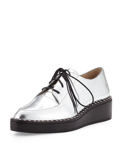 Frances Metallic Leather Oxford, Silver