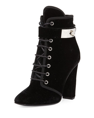 Lace-Up Velvet Ankle-Buckle Boot, Black (Nero)