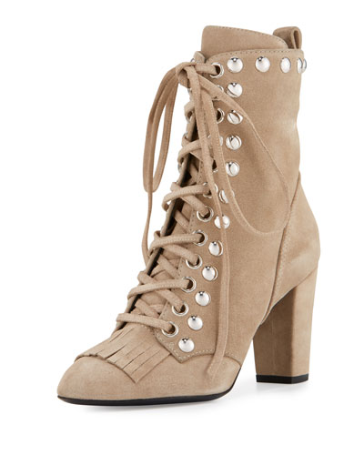 Studded Suede Kiltie Lace-Up Boots, Tan
