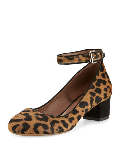 Martha Calf Hair Ankle-Strap Pump, Leopard