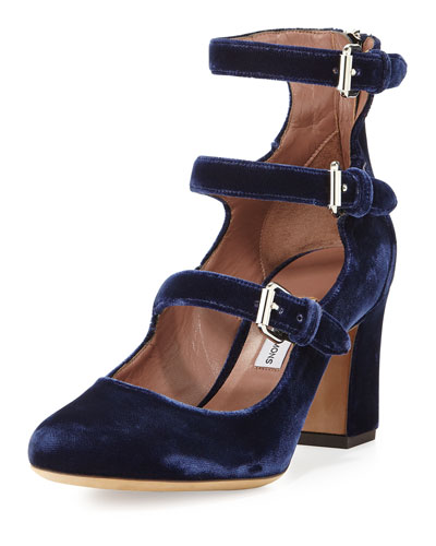 Ginger Velvet Three-Strap Pump, Blue