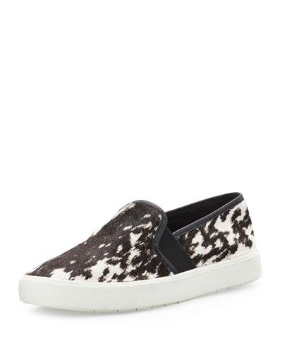 Blair Printed Calf Hair Skate Sneaker, Black/White