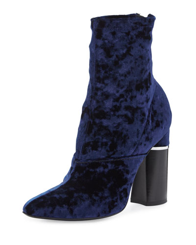 Kyoto Crushed Velvet Boot, Royal Blue
