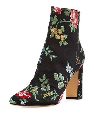 Insopo Floral-Embroidered Ankle Boot