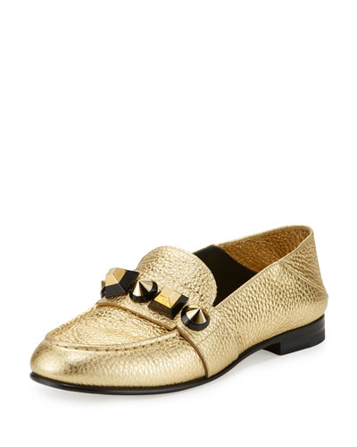 Metallic Studded Leather Moccasin, Gold