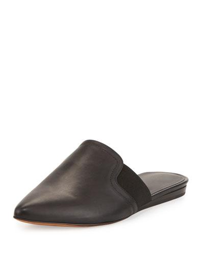 Nadette Pointed-Toe Flat Slide, Black