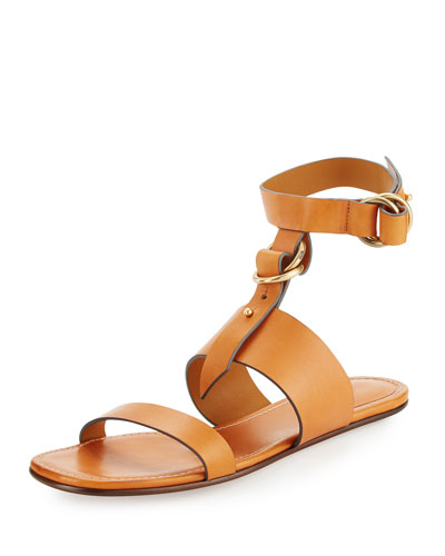 Matte Leather T-Strap Flat Sandal, Cognac Brown