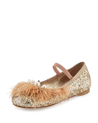 Feather-Trim Glitter Ballerina Flat, Pyrite