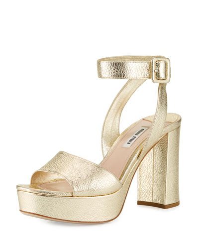 Metallic Leather Platform Ankle-Wrap Sandal, Pyrite