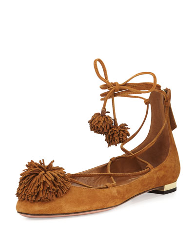 Sunshine Suede Pompom Lace-Up Flat