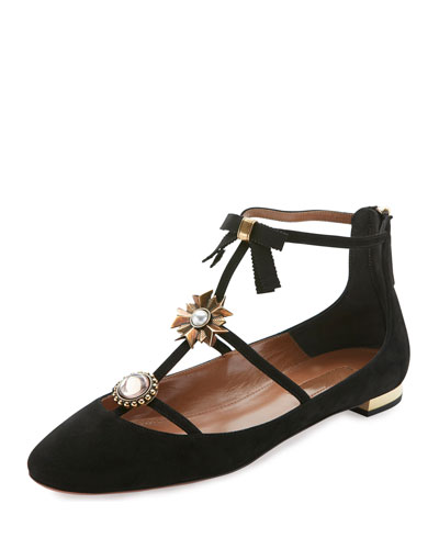 Pandora Suede Ornament Flat, Black