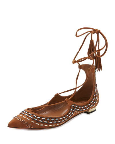 Christy Folk Suede Ankle-Wrap Flat, Cognac