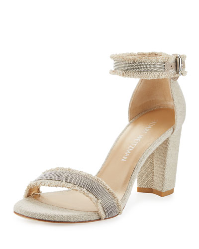 Chaingang Frayed Ankle-Wrap Sandal, Oat