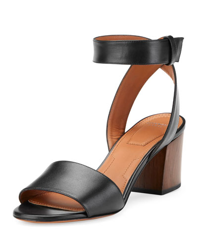 Paris Block-Heel Ankle-Wrap Sandal, Black