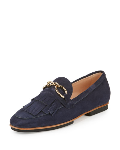 Fringed Suede Chain Loafer, Navy
