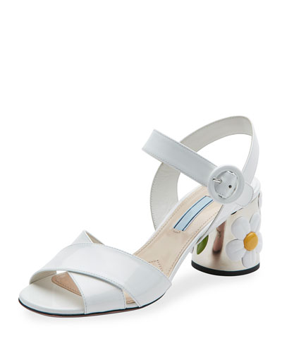 Patent Leather Flower-Heel Sandal, White (Bianco)