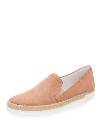 Suede Espadrille Slip-On Sneaker, Blush