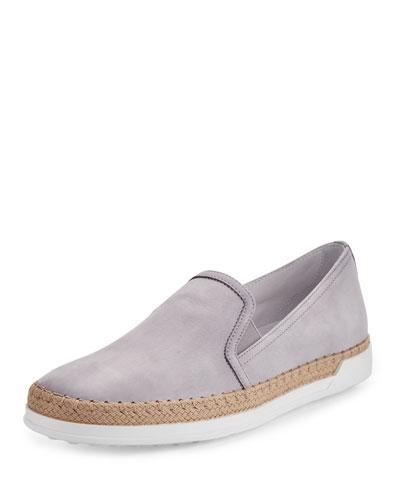 Suede Espadrille Slip-On Sneaker, Light Gray