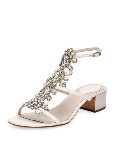 Jeweled Snakeskin T-Strap Sandal, White