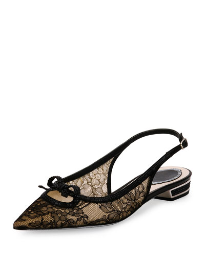 Lace Point-Toe Slingback Flat, Black
