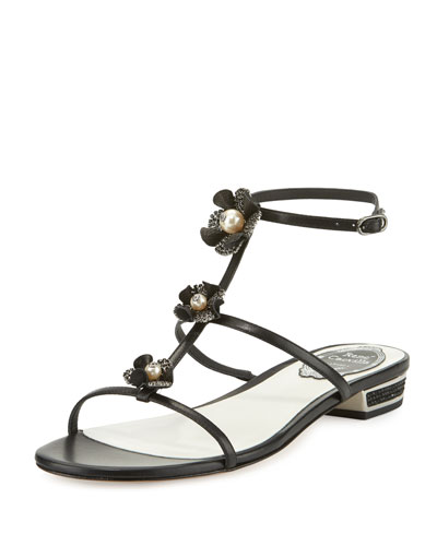 Embellished Leather T-Strap Sandal, Black