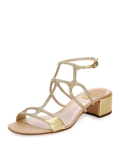 Geometric Crystal City Sandal, Gold