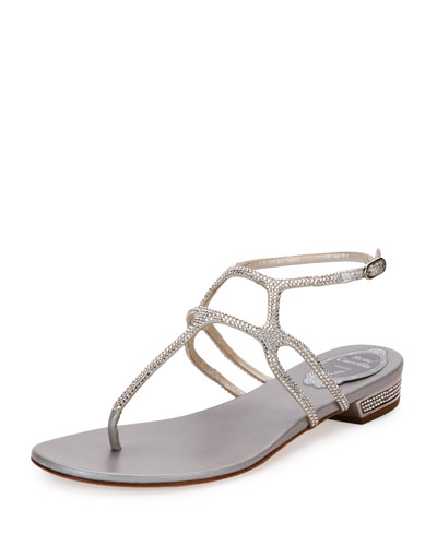 Geometric Crystal Flat Thong Sandal, Silver