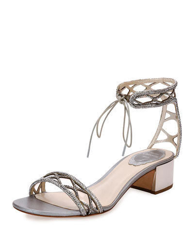 Crystal-Studded 40mm Ankle-Tie Sandal, Silver