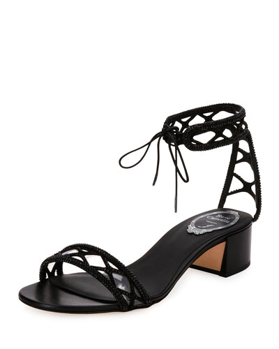 Crystal-Studded 40mm Ankle-Tie Sandal, Black