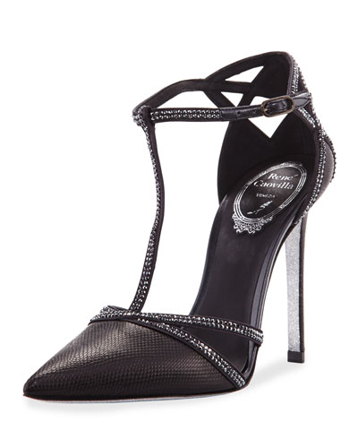 Karung Crystal T-Strap 105mm Pump, Black