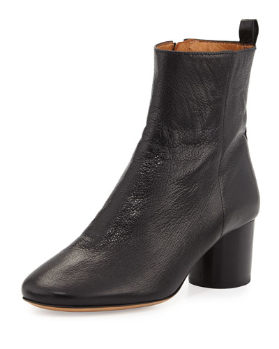 Deyissa Tumbled Leather Block-Heel Boot, Black