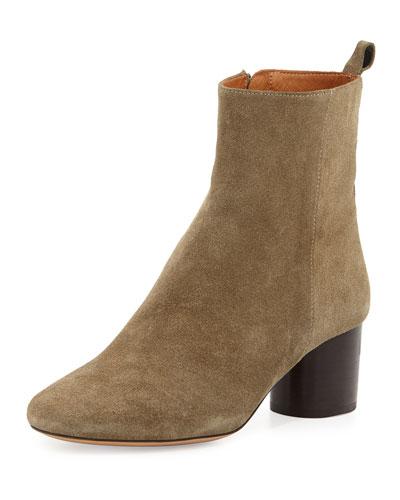 Deyissa Suede Block-Heel Boot, Taupe
