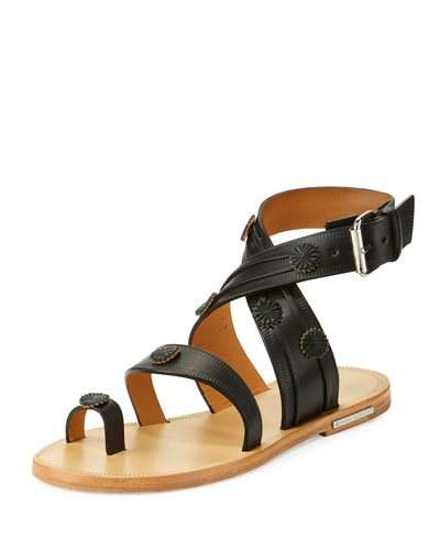Jord Leather Toe-Ring Flat Sandal, Black