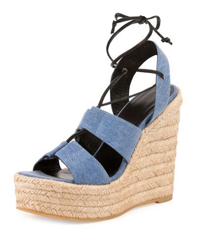Denim Lace-Up Espadrille Wedge Sandal, Washed Blue