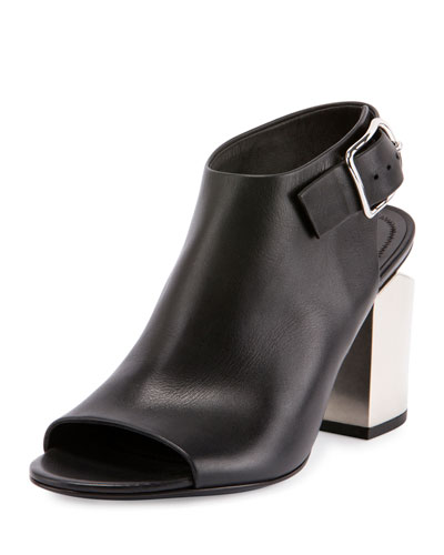 Nadia Leather Open-Toe Bootie, Black/Silver