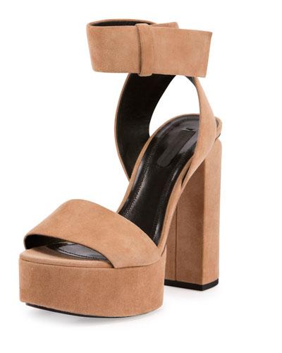 Keke Suede Platform Ankle-Cuff Sandal, Clay